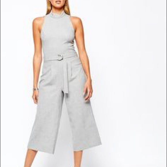 3914123df853 ASOS Pants - River Island Grey Culotte Jumpsuit with Belt
